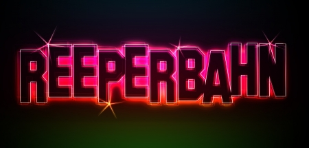 reeperbahn: Reeperbahn als Illustration im Neon Licht Style f�r Pr�sentationen, Flyer, Web, etc. Stock Photo