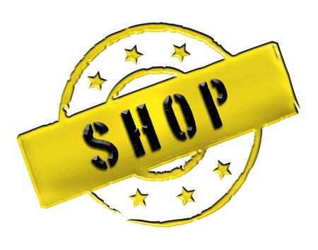 stempel: SHOP - Zeichen, Symbol im Retro Stil fuer Praesentationen, Prospekte, Internet,     Stock Photo