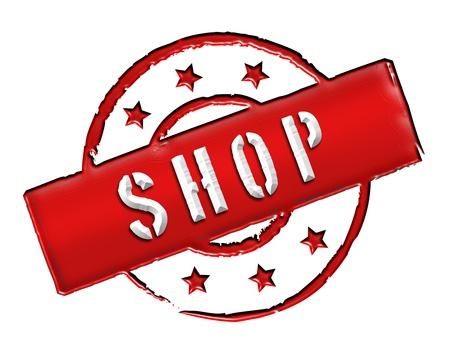 achtung: SHOP - Zeichen, Symbol im Retro Stil fuer Praesentationen, Prospekte, Internet,     Stock Photo