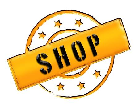 zeichen: SHOP - Zeichen, Symbol im Retro Stil fuer Praesentationen, Prospekte, Internet,     Stock Photo