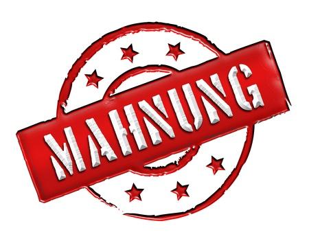 gelb: MAHNUNG - Zeichen, Symbol im Retro Stil fuer Praesentationen, Prospekte, Internet, ...