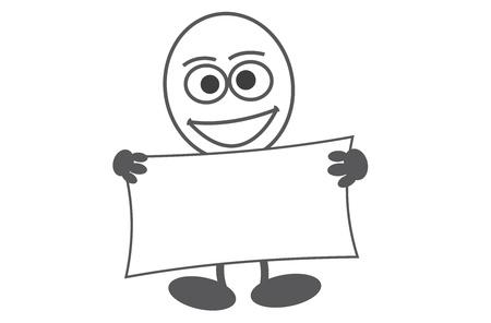 egghead: Comicfigur Eierkopf mit großen Augen hält eine Tafel mit Platz für Ihren Text, für Ihre Werbung