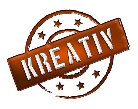 kreativ: Kreativ - Zeichen, Symbol im Retro Stil fuer Praesentationen, Prospekte, Internet,     Stock Photo