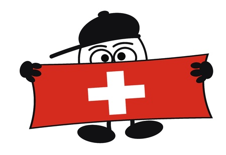 schweiz: Egghead cartoon character with big eyes holding a sign with space for your text, for advertising