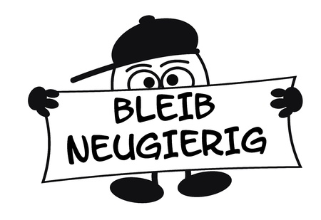 zeichnung: Egghead cartoon character with big eyes holding a sign