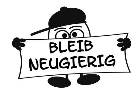 egghead: Personaggio dei cartoni animati con gli occhi grandi Egghead possesso di un segno Archivio Fotografico
