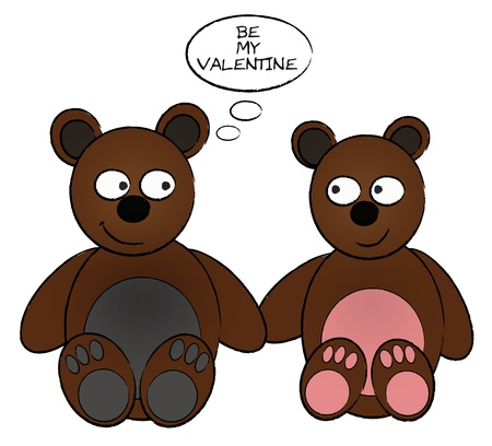 zeichnung: Two brown, cute cartoon baers in love - zwei braune, verliebte Comic B�ren