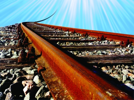 Old, rusty railway on its way to heaven    Stock Photo - 15864523