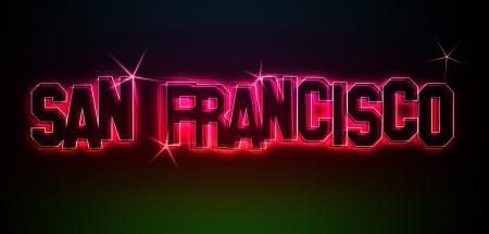 SAN FRANCISCO ALS Illustration im Neon Licht Stil
