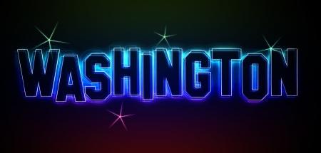 als: Washington als Illustration im Neon Licht Style  Stock Photo