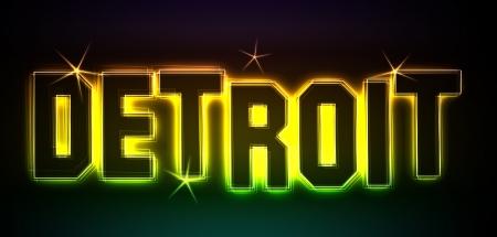 als: Detroit als Illustration im Neon Licht Style Stock Photo