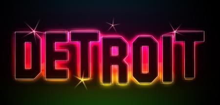 Detroit bekannt als Illustration im Neon Licht Stil fr Prsentationen, Flyer, Web, etc