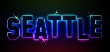 Seattle als Illustration in Neonlicht Stil