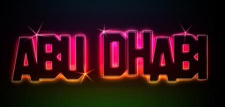 Abu Dhabi als Illustration in Neonlicht Stil