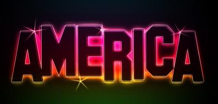 America als Illustration in Neonlicht Stil