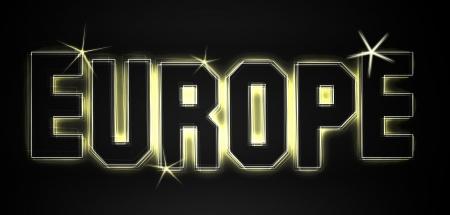 Europa als Illustration in Neonlicht Stil