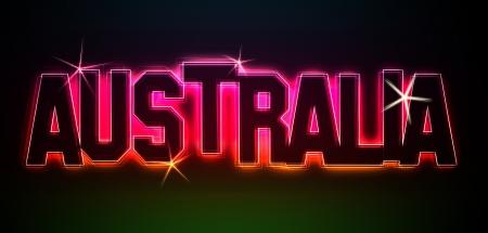 Australien als Illustration in Neonlicht Stil