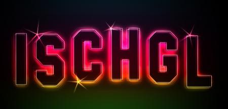 Ischgl als Illustration in Neonlicht Stil