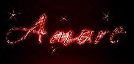 amore: Amore as an illustration in neon light style