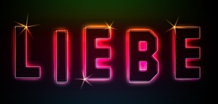in liebe: Liebe as an illustration in neon light style