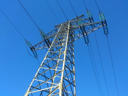 Power pole, electricity under a blue sky photo