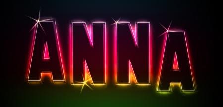 anna: Anna as an illustration in neon light style Stock Photo