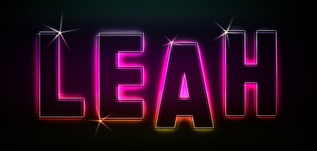 leah: Leah as an illustration in neon light style