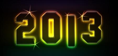 2013 als Illustration in Neonlicht Stil