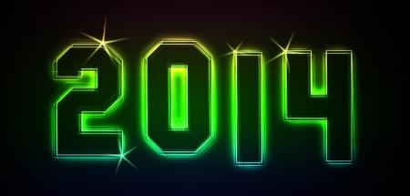 2014 als Illustration in Neon-Licht-Stil