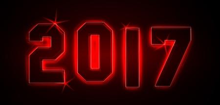 2017 als Illustration in Neonlicht Stil