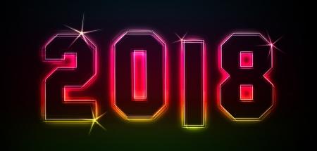 2018 als Illustration in Neon-Licht-Stil