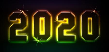 2020 als Illustration in Neonlicht Stil
