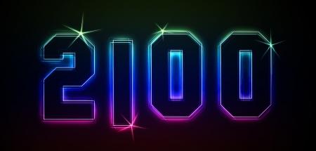 2100 als Illustration in Neonlicht Stil