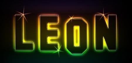 Leon als Illustration in Neonlicht Stil