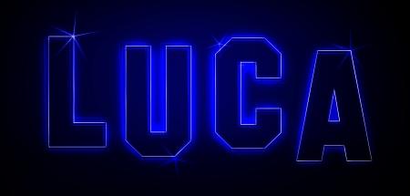 Luca als Illustration in Neonlicht Stil