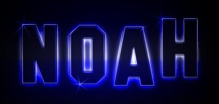Noah als Illustration in Neonlicht Stil