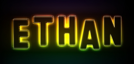 ethan: Ethan as an illustration in neon light style