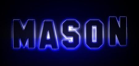 Mason als Illustration in Neonlicht Stil