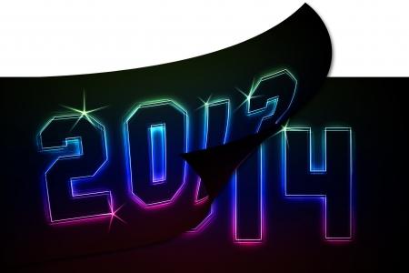 2013-2014 als Illustration in Neon-Licht-Stil