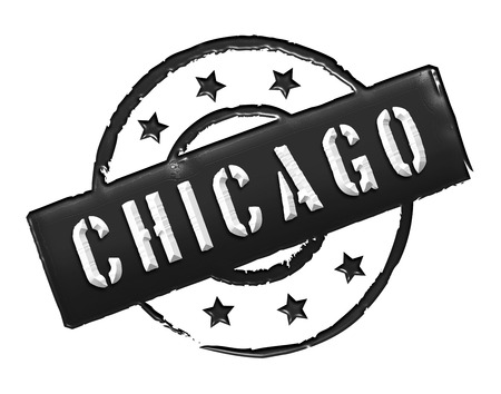 Sign and stamp named Chicago colored black  photo