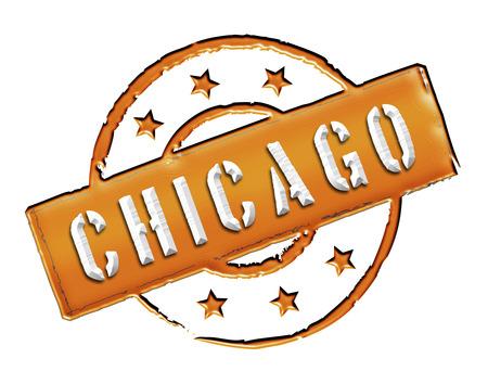 windy city: Firma y sello llamado Chicago de color negro