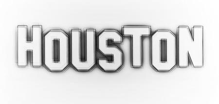 neonlight: Houston as an illustration in neon light style