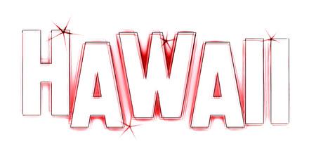 HAWAII ALS Illustration im Neon Licht Stil für Präsentationen, Flyer, Web, etc.