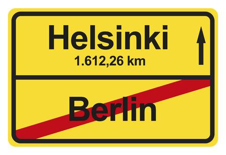 gelb: Ein gelbes Ortsausgangschild mit der jeweiligen Entfernung von einem Ort zum anderen. Stock Photo
