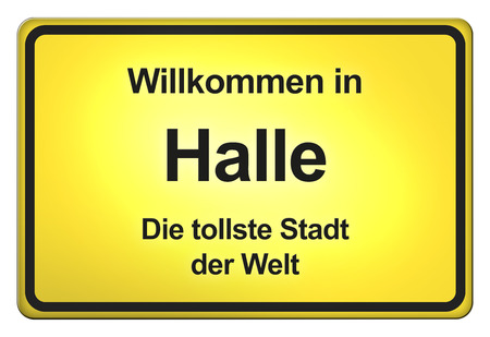 continued: German yellow city limit sign with friendly greetings Stock Photo