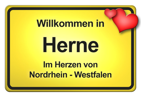 north  rhine westphalia: German yellow city limit sign with friendly greetings Stock Photo