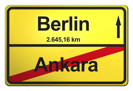 city limit: German yellow city limit sign with the distance to another big city