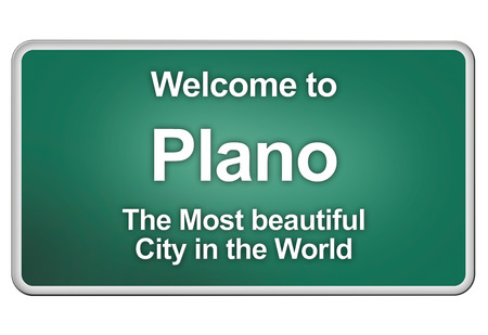 plano: Green village sign with friendly Greetings Stock Photo