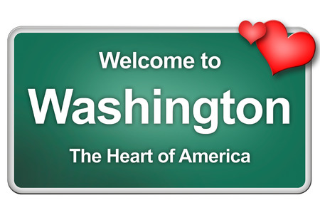 washington state: Green village sign with friendly Greetings Stock Photo