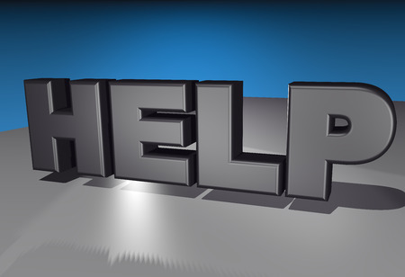 3d animation: 3D animation of 4 very large letters named HELP in front of blue background.